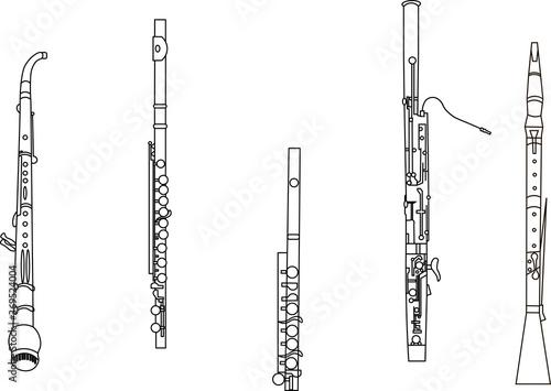 Slika na platnu Black line drawings of outline English horn, flute, piccolo, bassoon and oboe mu