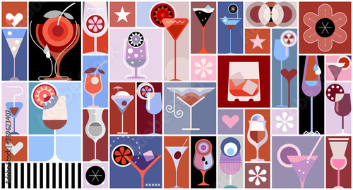 Photo Pop art style vector collage with many various cocktails