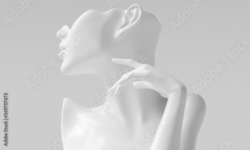 Female abstract white profile and elegant mannequin gesture, woman silhouette sculpture, earring display, jewelry showcase concept, 3d rendering