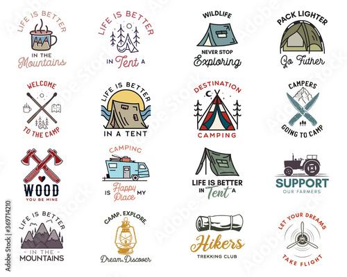 Fotografia Camping adventure badges logos set, Vintage travel emblems