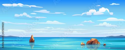 Fotografia Sky and sun at sea background, ocean and beach vector island scenery empty flat cartoon