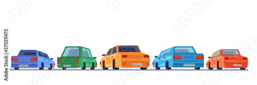 Fotografia Cars standing rear backs, cartoon vehicles backside on parking, vector isolated icons