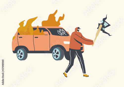 Wallpaper Mural Aggressive Looter Male Character with Hidden Faces and Baseball Bat Breaking Wall and Car on Street