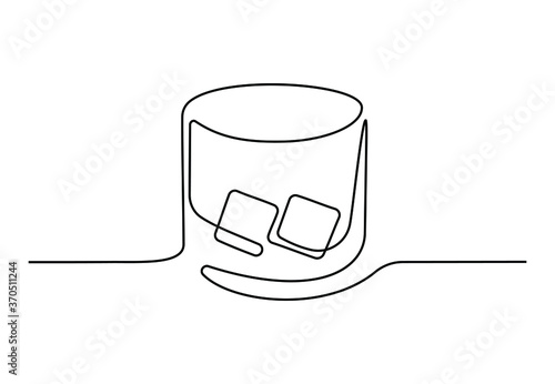 Continuous one line drawing of whiskey in glass with ice cubes Poster Mural XXL