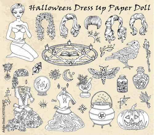 Photo Set of dress up paper doll with Halloween witch costumes, crow, moth and pumpkin