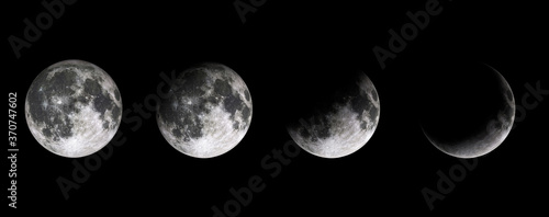 Photo Moon phases on black baclground