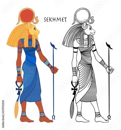 Fototapeta Sekhmet, the goddess of the sun, fire plagues, healing and war In Egyptian mythology