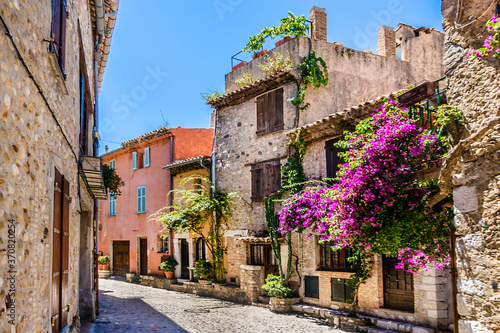 Haut-de-Cagnes, a picturesque village at the top of a hill, is the oldest district of Cagnes-sur-Mer in French Riviera Fototapeta