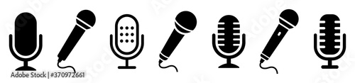 Fotografia Microphone icon set. Different microphone collection. Vector