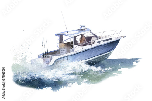 Obraz na plátne A speedboat (motorboat) at sea hand drawn in watercolor isolated on a white background