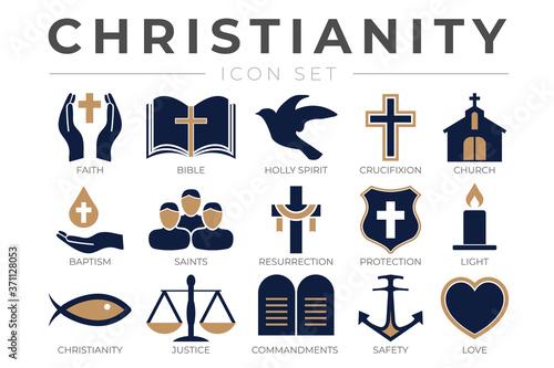 Wallpaper Mural Christianity Icon Set with Faith, Bible, Crucifixion , Baptism, Church, Resurrec