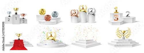 Photographie Winner podium, medal and cups
