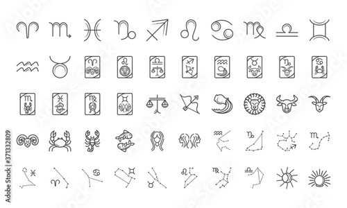 Photo zodiac astrology horoscope calendar constellation icons collection line style
