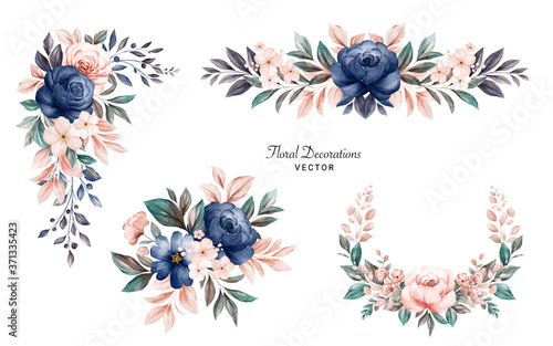 Set of watercolor floral frame bouquets of navy and peach roses and leaves. Botanic decoration illustration for wedding card, fabric, and logo composition