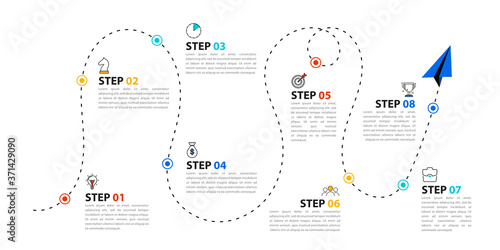 Fototapeta Infographic design template. Timeline concept with 8 steps