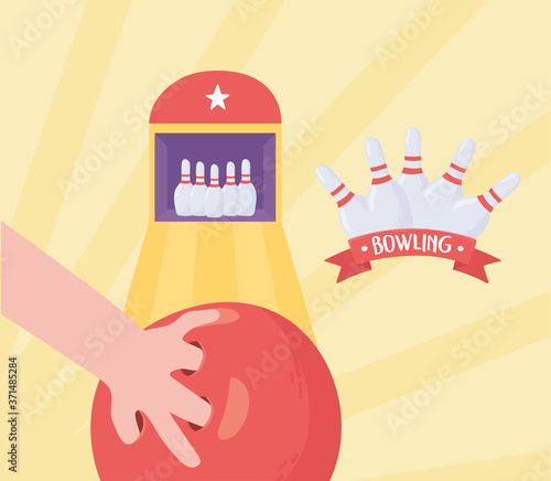 Canvas Print bowling hand with ball alley skittles game recreational sport flat design