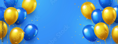 Fotografie, Obraz Greeting design in national blue and yellow colors with realistic flying helium balloons