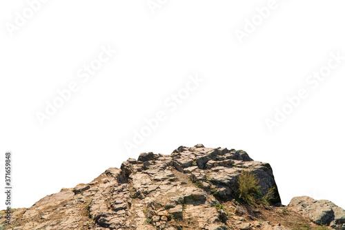 Valokuvatapetti Rock mountain slope foreground close-up isolated on white background