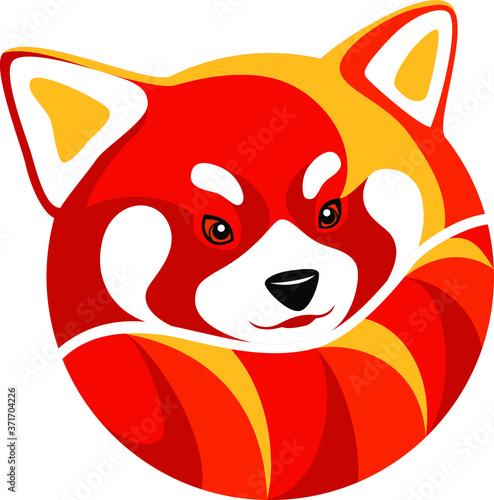 Red Panda Round Logo Design Fototapeta