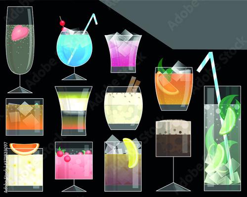 Obraz na plátně Twelve alcohol coctails vector illustration