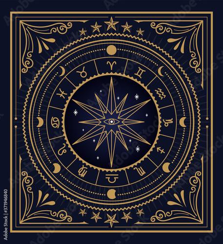 Foto Divine magic occult symbolism occultism vintage label vector
