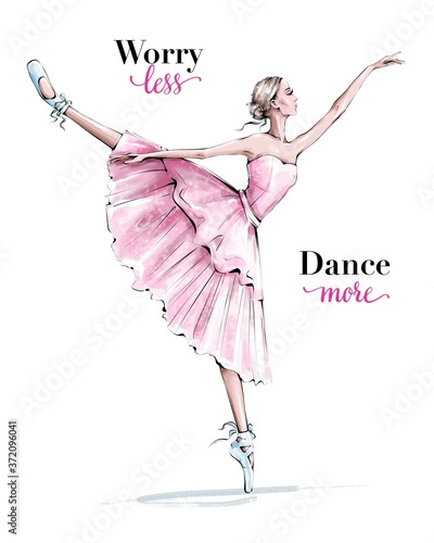Fotografiet Hand drawn beautiful dancing woman