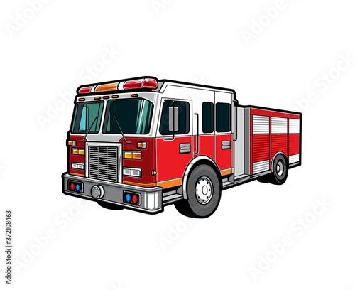 Fototapeta Fire engine truck or firetruck car vector icon, firefighter vehicle