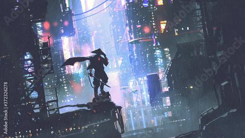futuristic samurai standing on a building in cyberpunk city at rainy night, digital art style, illustration painting