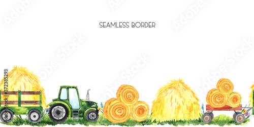 Fotografie, Tablou Watercolor hand painted autumn harvest seamless border with bright green tractor