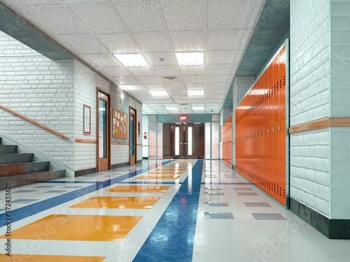 Fotografia, Obraz School corridor with lockers. 3d illustration