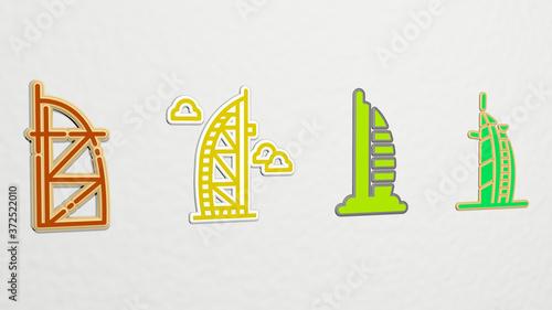 Canvas Print burj al arab 4 icons set, 3D illustration