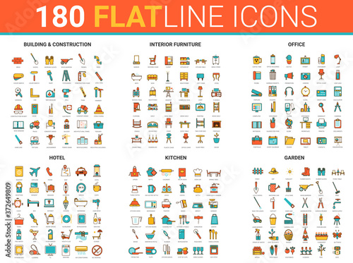 Stampa su Tela Flat thin line icons, vector illustration creative modern design collection with