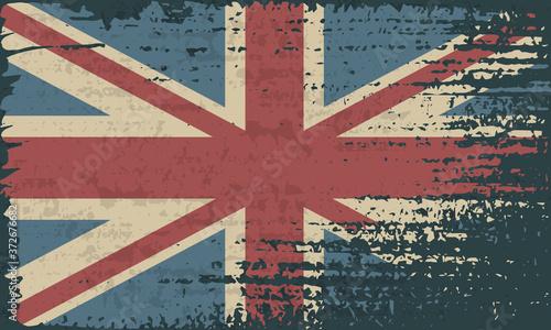 Photo Grunge UK flag. Vintage United Kingdom flag grunge style.
