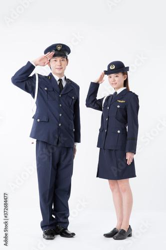 Fotomural 敬礼をする警察官