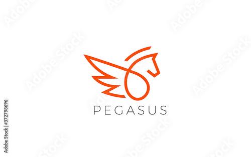 Stampa su Tela Pegasus logo form with simple line in red color
