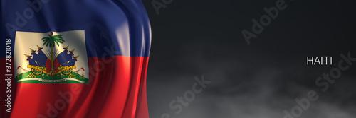 Fotografie, Obraz Haiti Flag 3d Rendering with Dark Background