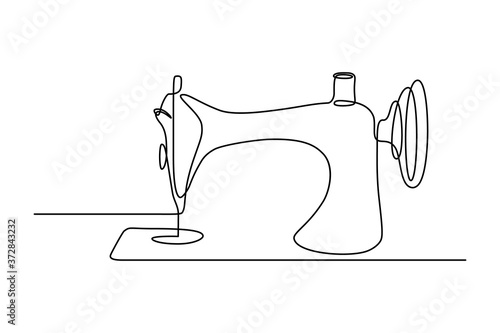 Fototapeta Sewing machine in continuous line art drawing style