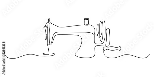 Fotografia, Obraz Sewing machine in continuous line art drawing style