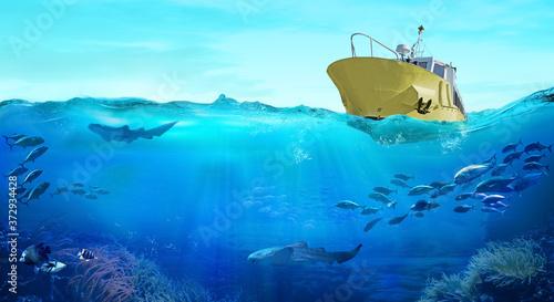 Obraz na płótnie Fishing boat in the sea