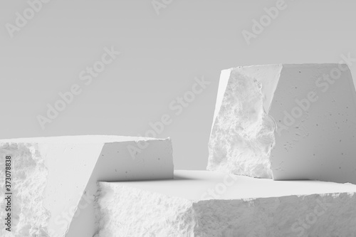 White pieces of Stone wall with broken textured edges, debris stone slabs for product display background Fototapeta