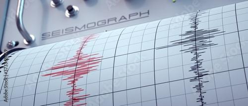 Slika na platnu Seismograph predicting earthquakes with precision.