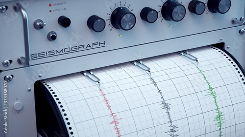 Photo Seismograph predicting earthquakes with precision.