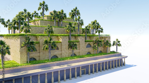 Fotografía Isolatd 3d rendering of Hanging Garden of Babylon