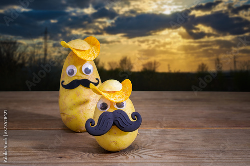 фотография funny potatoes in a hat and with a mustache on the background of nature