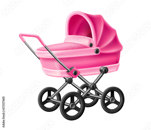 Photo Vector 3d baby strolle pink baby carriage pram