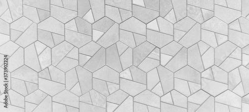 Photo Abstract grey gray white bright seamless geometric hexagonal hexagon mosaic ceme