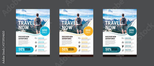 Stampa su Tela Travel poster or flyer pamphlet brochure design layout space for photo background