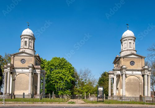 Fototapeta Mistley Towers are all that remains of an old church demolished in 1870 in Essex