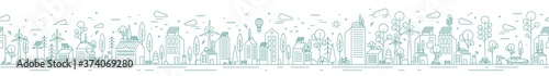 Cityscape with eco friendly technology, architecture and natural park vector illustration in monochrome line art style. Urban landscape environmental friendly protection horizontal seamless pattern