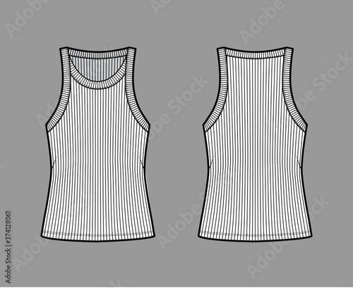 Obraz na płótnie Ribbed cotton-jersey tank technical fashion illustration with wide scoop neck, relax fit knit, tunic length